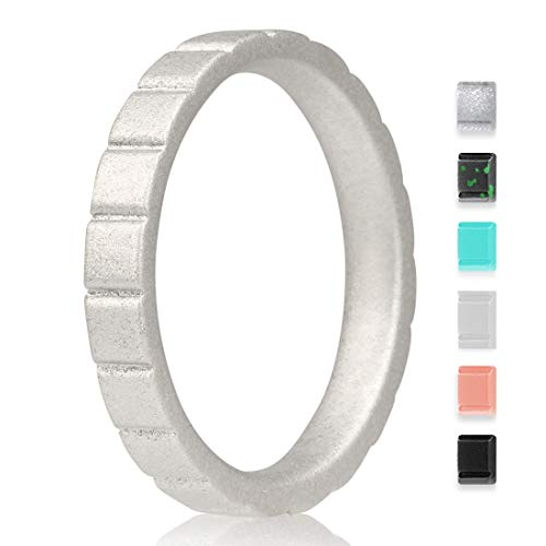 EMBNN Silicone Wedding Ring for Women Men, Thin, Affordable and Stackable Silicone Wedding Bands for Sports, Workout, Fitness, Gym, Exercise, Step Design, Silver, 3.0mm Wide, Size: 6 (16.5mm) ()