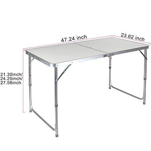 Portable Height Adjustable Aluminum Folding Camping Table with Parasol Hole FT ACFT1