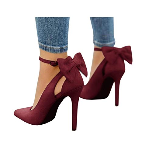 Fashare Womens Pointed Toe Pumps High Heels Bowtie Back Ankle Buckle Strap D'Orsay Dress Shoes Wine Red