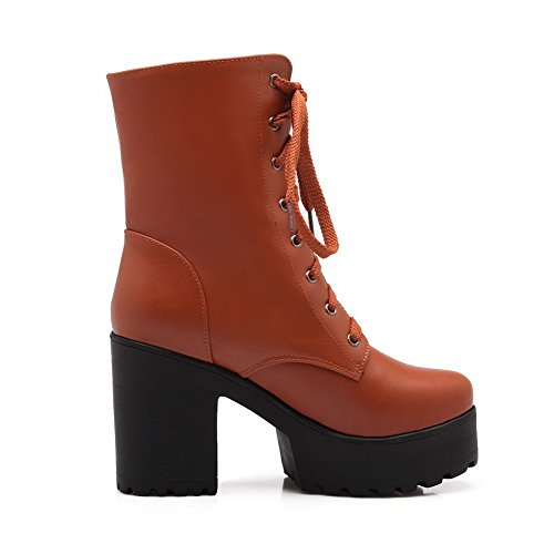 bandage Brown AgooLar Boots Women's Blend Closed Solid Materials Toe x486Op6wq