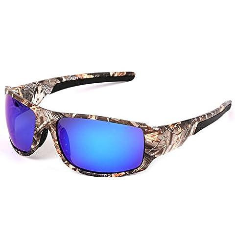 MOTELAN Polarized Camouflage Sports Sunglasses for Men's Fishing Hunting Boating Sun Glasses Blue
