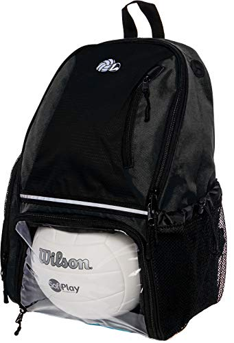 LISH Volleyball Backpack - Large School Sports Bag w/Ball Compartment (Black)