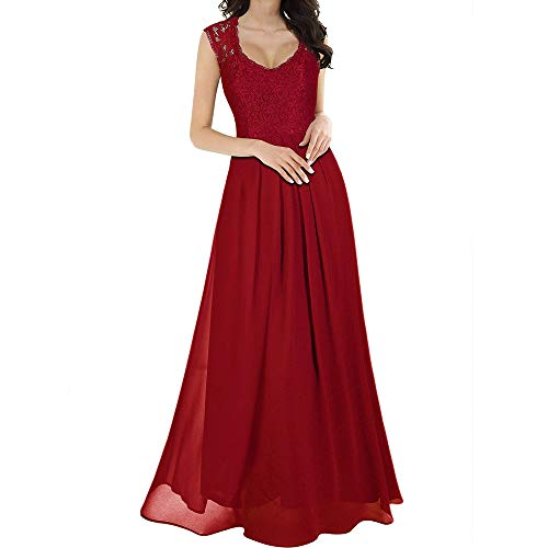 ❤️Sumeimiya Womens Chiffon Dress, Long Maxi Bridesmaid Dress Evening Party Ball Formal Gown Dress Classic Elegant Party Dress Red