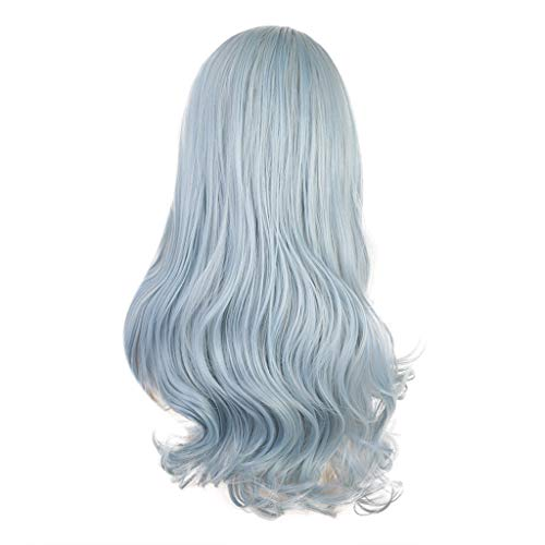 Iusun Wigs,24'' Light Blue Women's Long Curly Wavy Resistant Synthetic Extensions Cosplay Costume Daily Party Anime Hair Full Wig High Temperature Fiber (Light Blue)