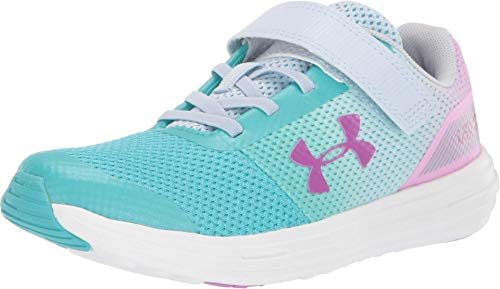 Under Armour Girls' Pre School Surge RN Prism Adjustable Closure Sneaker Tempest, Breathtaking Blue (301)/Moonstone Blue, 1.5