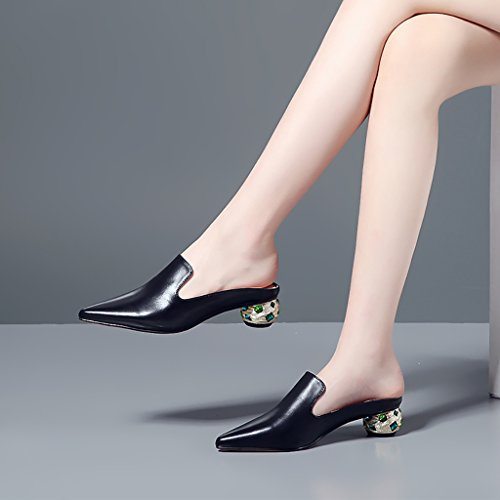 Slippers Drag Slippers Pointed Half Sandals Baotou Fashion Black Leather No Wear Heel Outer Ms and Mid Heel ZCJB qaX8xnwaO