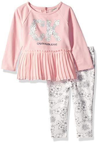 Calvin Klein - Juego de 2 Leggings de túnica para niña, Crepe Pink/Gray, 6-9Meses