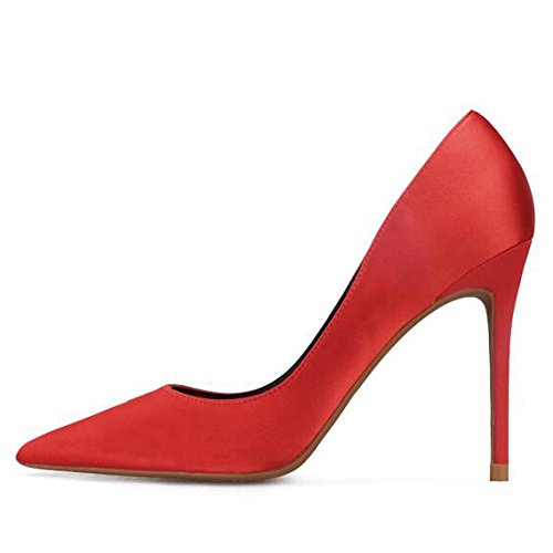 10cm 5 Red Cour Femme Satin Hauts Sexy Professions Travail Noir Mode Nightclub UK 4 Party EU Soie Mariage Chaussures Talons 37 RRqwZ6