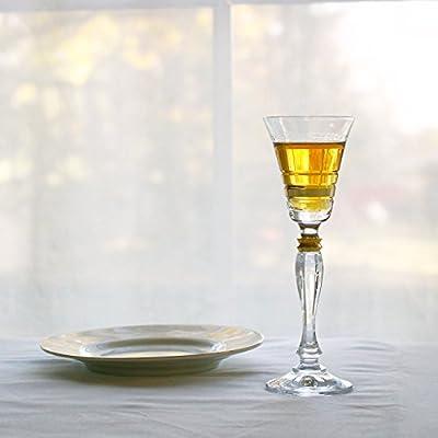 Glazze Crystal APP-078-GL APPALACHIA Luxury Crystal Liquor Glasses (Set of 6) 6 Inches high Gold