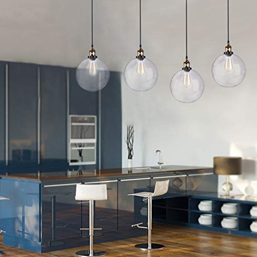 FIged Vintage Rustic Industrial Kitchen Island Chandelier Pendant Hanging Ceiling Lighting Fixture with Clear Glass Shade ()