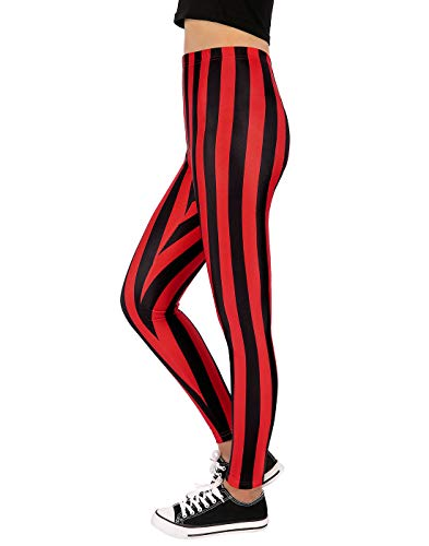 HDE Women's Red Black Striped Leggings Vertical Stripe Workout Tight -
