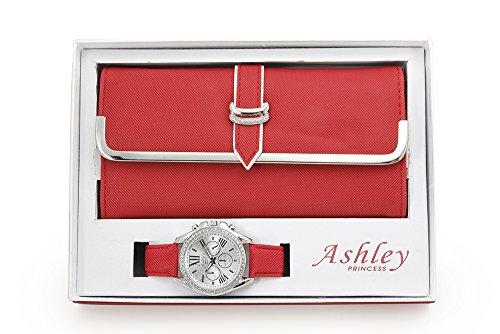 Women's Matching Watch & Wallet - Red