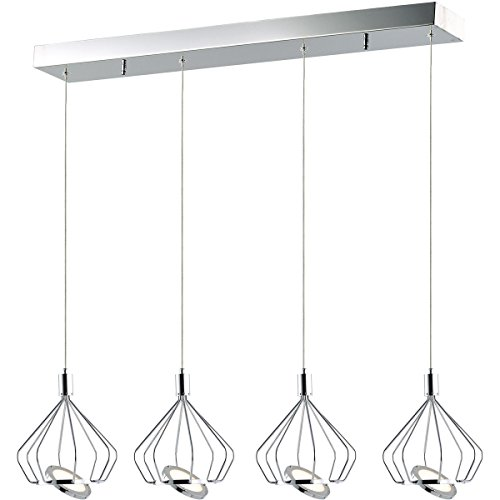 Pendants 4 Light With Polished Chrome Finish Steel Acrylic Material PCB Bulb 38 inch 104 Watts - 26 Et2 4 Light