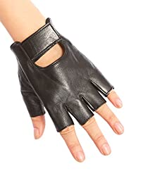 May&Maya Women's Genuine Nappa Leather Fingerless Motorcycle Fashion Driving Gloves