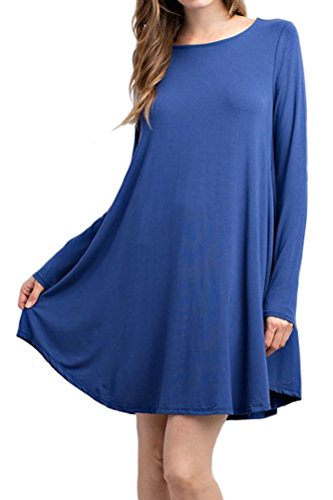Price comparison product image iconic luxe Women's Bamboo Long Sleeve Trapeze Dress Large Light Navy