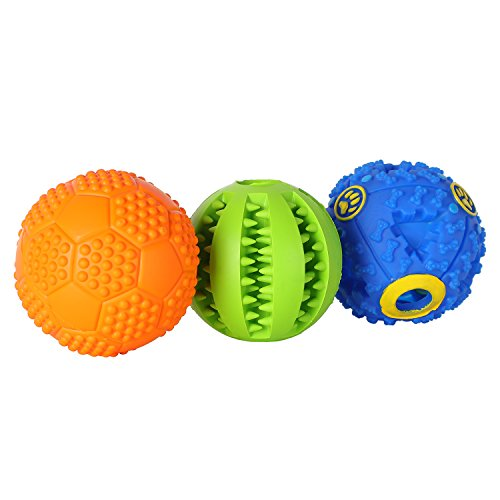 Everfriend Pet Dog Ball Interactive Rubber Balls Squeaker Small Medium Large Dog Tooth Cleaning Chewing Playing (3 Pack)