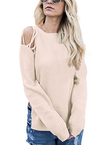 Wholesale Womens Cashmere Sweater (Dokotoo Womens Amazon Cotton Casual Oversized Crewneck Cold Shoulder Long Sleeve Chunky Tunic Slit Knit Cashmere Pullover Sweater Blouses Tops Apricot X-Large)