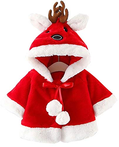 Toddler Girls Boys Xmas Costume Cute Christmas Deer Hooded Cloak Cape Robe Coat Outwear Size 6-12 Months/Tag80 (Red) ()