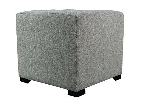 MJL Furniture Designs Upholstered Cubed Square Olivia Series Ottoman, 17 x 19 x 19 , Smoke Grey