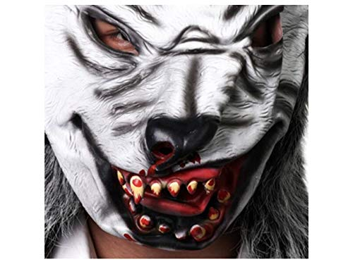 Hezon Happy Festival Scary Wolf Mask Horror Animal Head Cover for Masquerade Halloween Party (White)