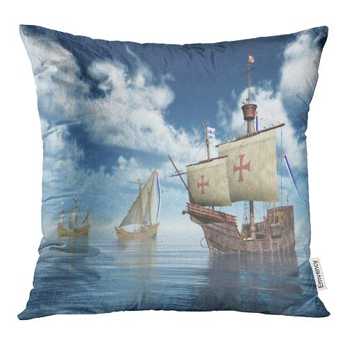 Emvency Blue Columbus Santa Maria Nina and Pinta of Christopher Columbuscomputer Generated 3D Ship Throw Pillow Covers 16x16 Inch Decorative Cover Pillowcase Cases Case Two Side