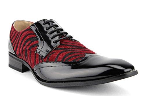 Majestic Men's 99521 Patent Wing Tip Faux Pony Hair Zebra...