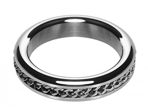 Master Series Metal Cock Ring with Chain Inlay, 1.75 inch by Master Series