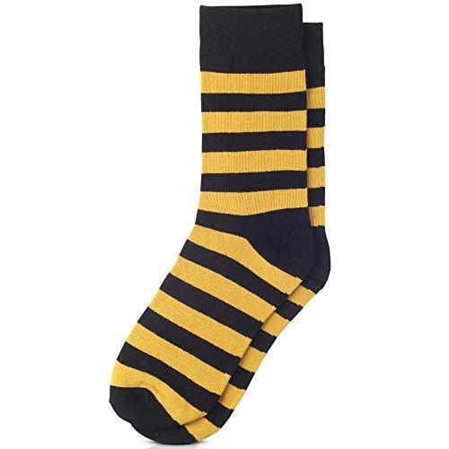 Jacob Alexander College Stripe Cotton Dress Socks - Gold Black,One Size