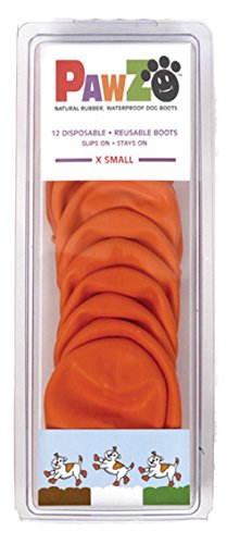 Pawz Orange Water-Proof Dog Boot, X-Small, Up to 2-Inch (Rubber Boots Dog)