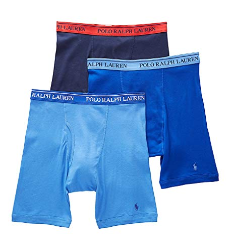 Polo Ralph Lauren Men's Classic Fit w/Wicking 3-Pack Long Leg Boxer Briefs Aerial Blue/Rugby Royal/Cruise Navy Small