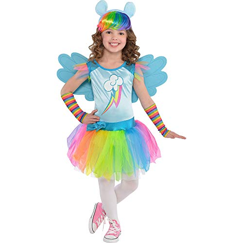 Costumes USA My Little Pony Rainbow Dash Costume for Toddler Girls, Size 3-4T, Includes a Dress, Arm Warmers, and -