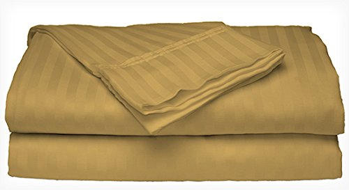 Queen Size 400 Thread Count 100% Cotton Sateen Dobby Stripe Sheet Set ()