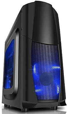 CiT Dragon 3 Black BLU - Caja de Ordenador de sobremesa, Color Negro y Azul: Amazon.es: Informática