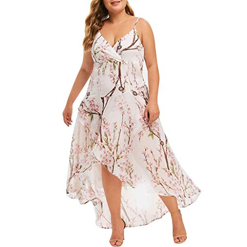 CANAFA Women's Casual Plus Size V-Neck Print Stitching Sling Waist Irregular Dress White