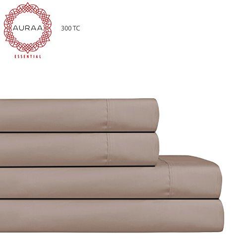 AURAA Essential 300 Thread Count 100% Long Staple Cotton Sheet Set - QUEEN SHEETS - 4 Piece Set,Soft & Smooth Sateen Weave,Classic Z Hem,16