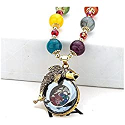 Gorgeous Jewelry Diamond Accented Alloy Fish Glass Hollow Carving Design Color Buddha Beads Necklace