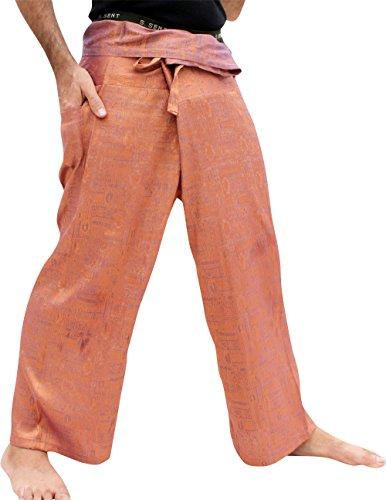 Orange Fisherman Pants - RaanPahMuang Brand Textured Silk Thai Fisherman Wrap Pants, Medium, Orange Violet