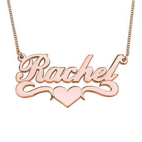 HACOOL Personalized Names Custom Name Necklace Pendant in 18K Gold Plated Custom Made with Any Name Chain (Rose (Custom Made Gold Chains)
