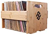 Sound Stash High End Bamboo Record Crate, Holds