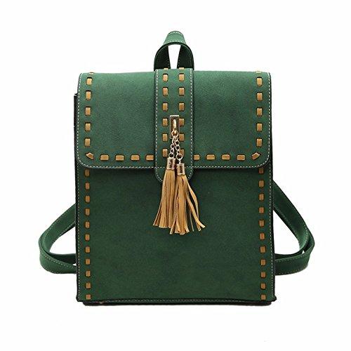 Bailiang 2018 Fashion Woman Backpack Multi-purpose Tassel Pu Solid Color Green Ladies Shopping Shoulder Bag