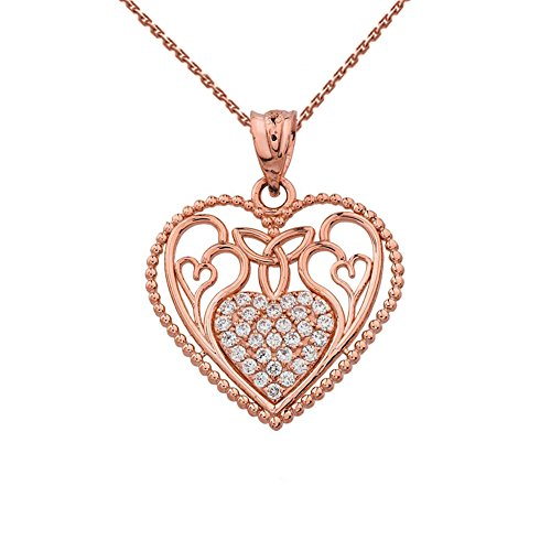 Fine 10k Rose Gold Diamond Filigree Heart with Trinity Knot Pendant Necklace, 20