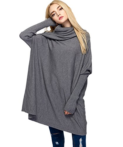 NUREINS Long Sleeve Sweater Women's Cowl Neck Slit Side Long Pullover Sweater (Autumn Cashmere Cowl Neck Sweater)
