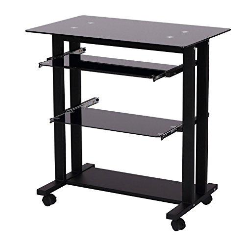 HomCom 33 Glass Top Mobile Home Office Computer Cart Desk -