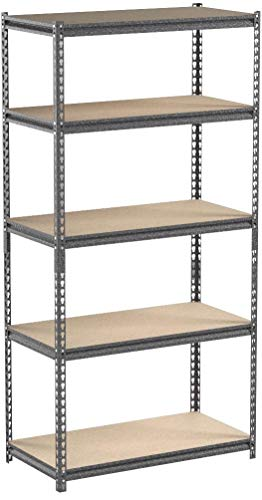 Muscle Rack 5-Shelf Steel Shelving, Silver-Vein, 24 D x 48 W x 72 H