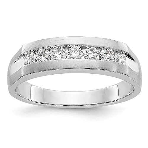 Size 10.5 - Solid 14k White Gold AA Diamond Men's Channel Wedding Band (6mm) (1/2ct.)