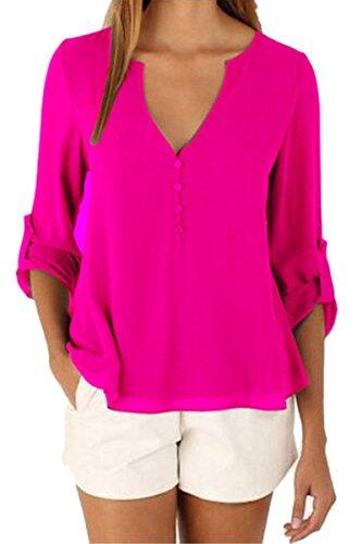 Color Chiffon Blouse - YMING Women's Casual Loose Blouse Elegant Solid Color Chiffon Blouse Rose XL