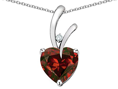 Star K Heart Shape 8mm Genuine Garnet Endless Love Pendant Necklace 10 kt White Gold