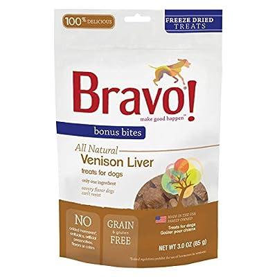 Bravo! Bonus Bites All Natural Freeze Dried Venison Liver Dog Treats - Grain & Gluten Free - 3 Ounce Bags