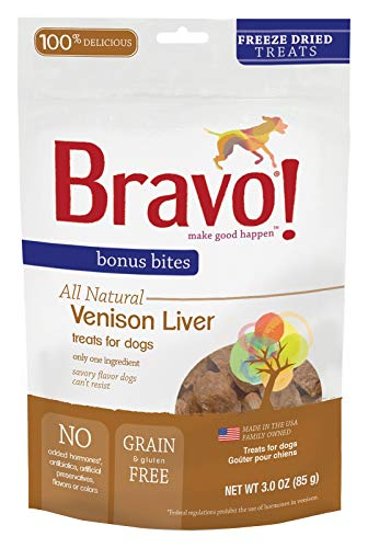 Bravo Bonus Bites Dog Treats Freeze Dried Venison Liver - All Natural - Grain Free - 3 oz ()