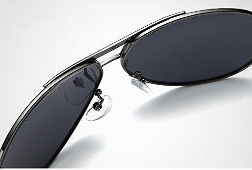 polarizado Sol de para de diseñador Marca de Gray Retro Gafas Sol de Gray BLUE Hombre de Gafas Espejo aviación Shuo Black Color Gafas Sol de Gafas lan New Espejo q171t8R
